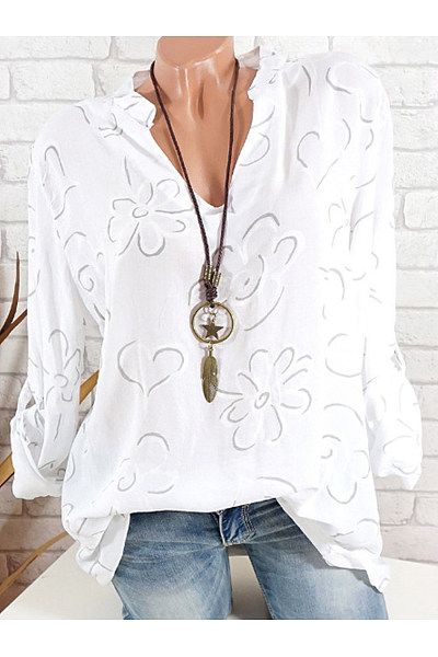 Adoradress V Neck  Loose Fitting  Print Blouses