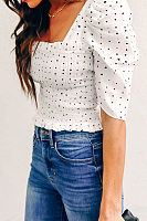 Square Neck  Ruched  Polka Dot  Puff Sleeve  Blouses