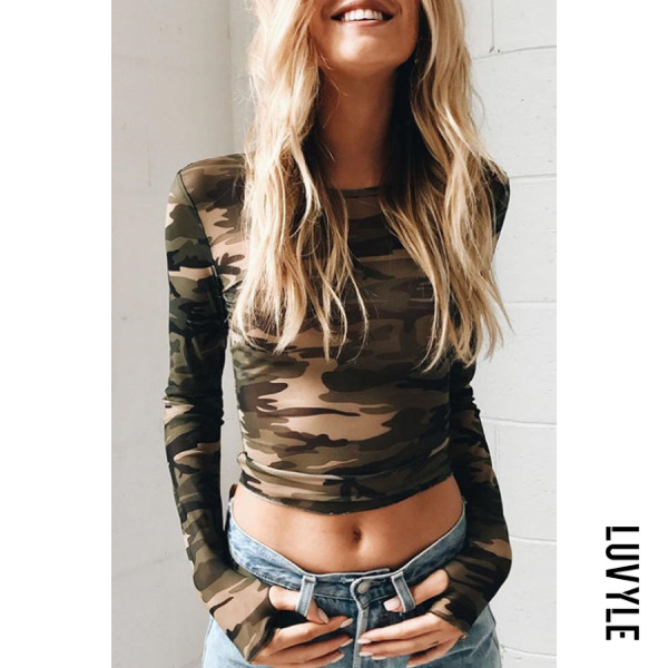 Army Green Round Neck Camouflage Hollow Out T-Shirts Army Green Round Neck Camouflage Hollow Out T-Shirts