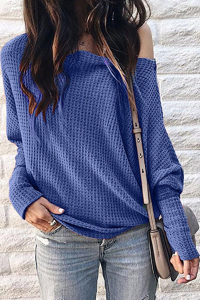 Shoulder Collar Patchwork Casual Plain Long Sleeve T-Shirt