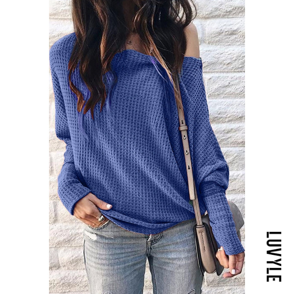 Blue Shoulder Collar Patchwork Casual Plain Long Sleeve T-Shirt Blue Shoulder Collar Patchwork Casual Plain Long Sleeve T-Shirt