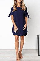 Round Neck  Asymmetric Hem  Plain  Half Sleeve Casual Dresses