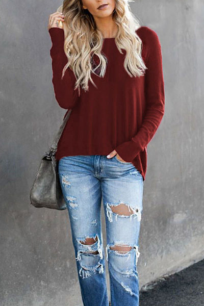 Round Neck  Asymmetric Hem Zipper  Plain T-Shirts