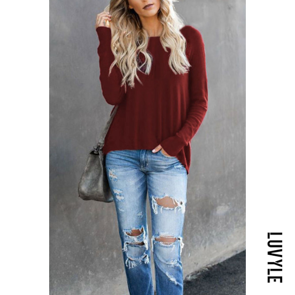 Claret Red Round Neck Asymmetric Hem Zipper Plain T-Shirts Claret Red Round Neck Asymmetric Hem Zipper Plain T-Shirts