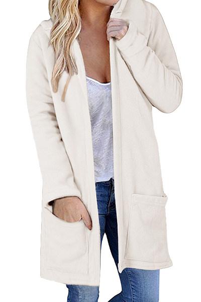 Hooded Plain Long Sleeve Pocket Casual Cardigans