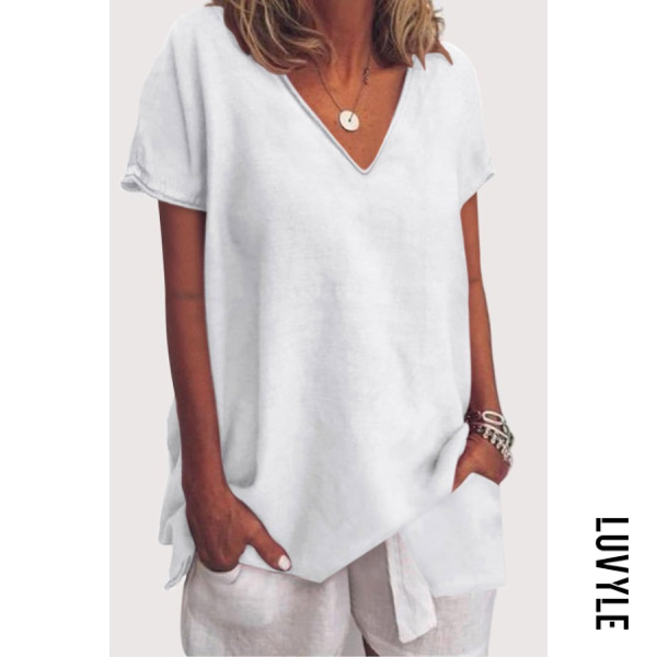 White V Neck Loose Fitting Plain T-Shirts White V Neck Loose Fitting Plain T-Shirts