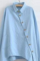 Ladies A Lapel Long Sleeve Decorative Buttons Blouse
