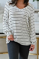 V Neck Long Sleeve Striped T-shirt