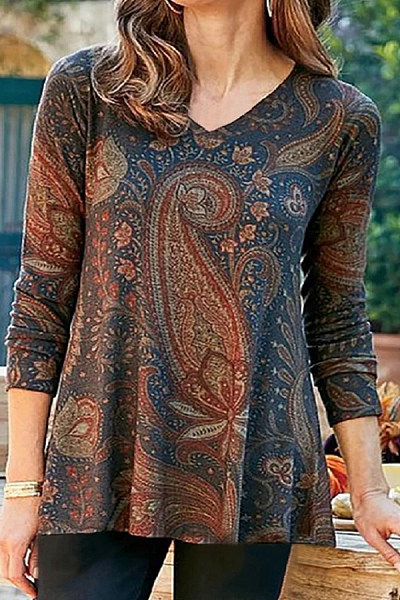Casual V Neck Long Sleeve Printed T-shirt