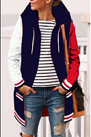 Hooded  Drawstring  Color Block Patchwork Coats