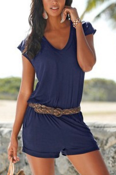 V Neck  Belt  Plain  Short Sleeve  Playsuits
