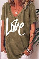 V Neck Short Sleeve Letters T-shirt