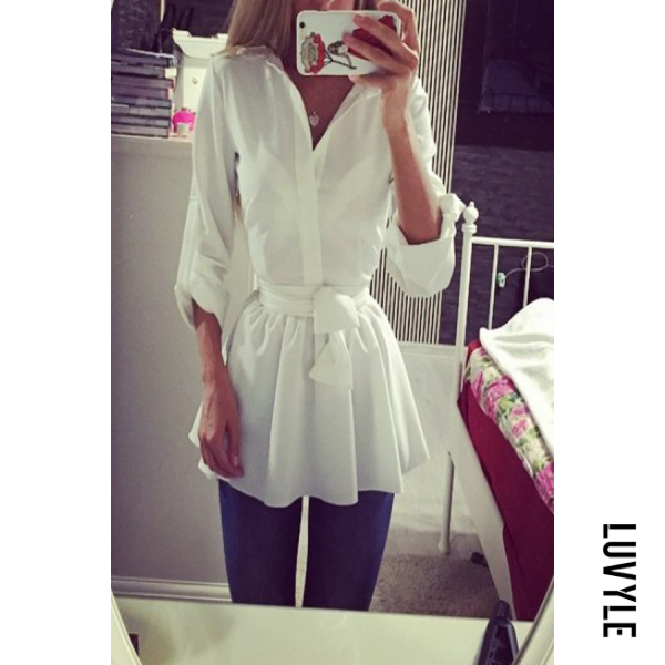 White Turn Down Collar Plain Long Sleeve Casual Dresses White Turn Down Collar Plain Long Sleeve Casual Dresses