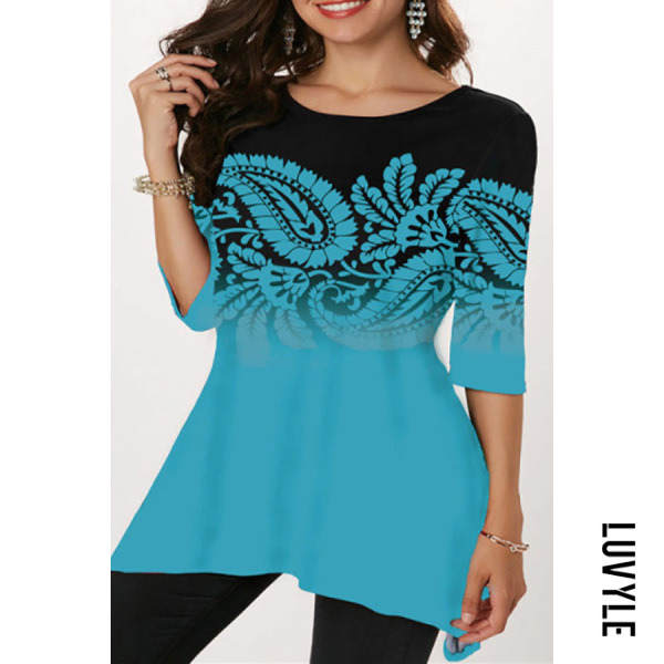 Round Neck Three Quarter Sleeve Printed T-shirt - from $21.00