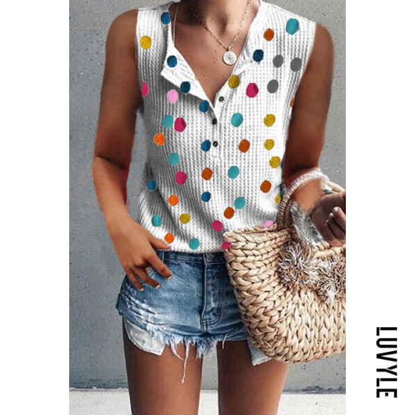 Multi Round Neck Single Breasted Dot T-Shirts Multi Round Neck Single Breasted Dot T-Shirts