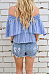 Strapless  Exposed Navel Smocked Bodice  Striped T-Shirts