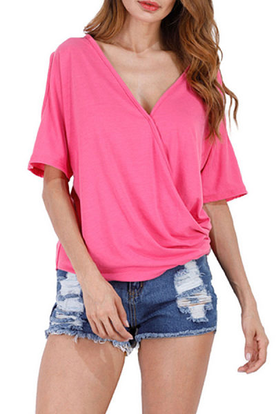 Deep V Neck  Asymmetric Hem  Plain T-Shirts
