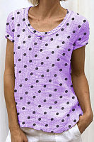 Round Neck  Dot T-Shirts