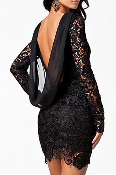 Round Neck  Backless Patchwork  Lace Plain Bodycon Dresses