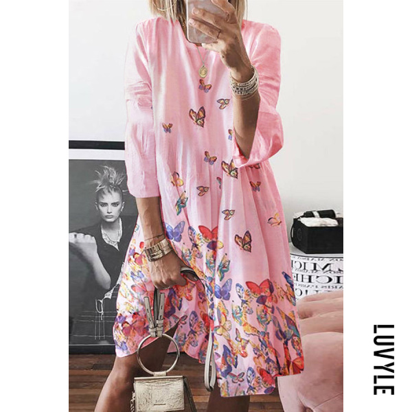 Pink Crew neck abstract print mid-length sleeves midi dresses Pink Crew neck abstract print mid-length sleeves midi dresses