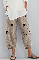 Star Print Cotton Linen Women's Casual Pants