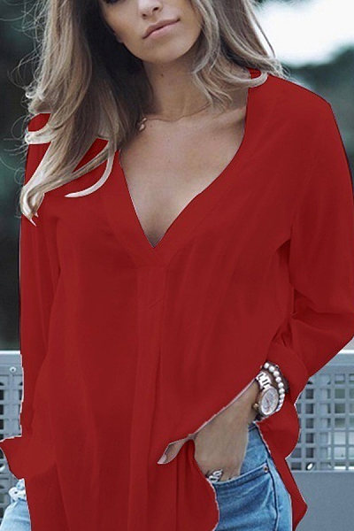 V Neck  Loose Fitting  Plain  Blouses