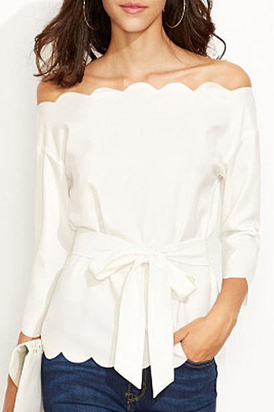 Off Shoulder  Bowknot  Belt  Plain  Petal Sleeve Blouses