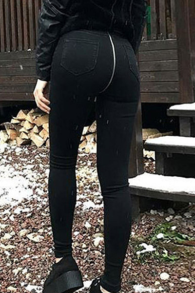 Zipper  Plain  Basic Jeans