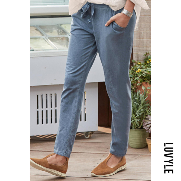 Womens Casual Solid Colour Pockets Pants