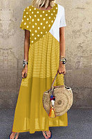 Round Neck Polka Dot Splice Maxi Dress