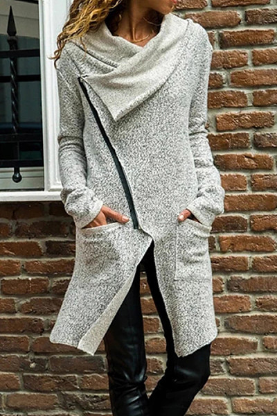 Asymmetric Neck Long Sleeve Plain Outerwear