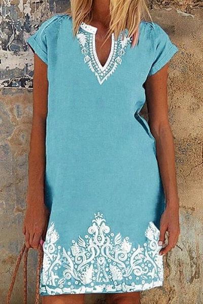 V Neck Folk-Custom Printed Casual Dress