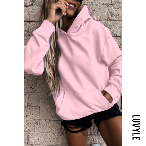 Pink Solid Color Loose Casual Hoody Pink Solid Color Loose Casual Hoody