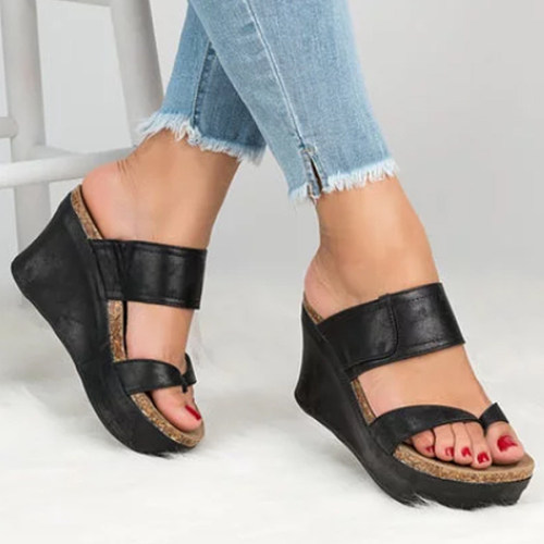 Plain  High Heeled  Peep Toe  Casual Wedge Sandals