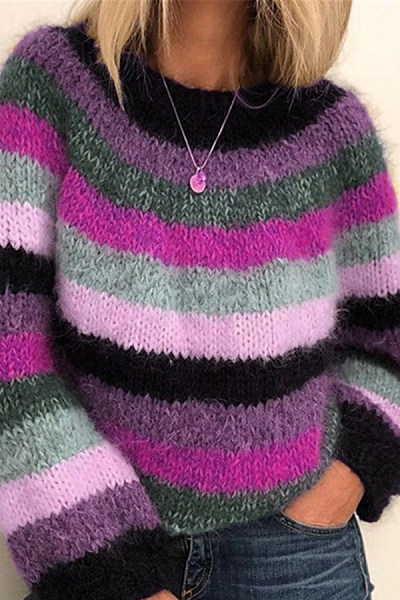 Colouring Long Sleeve Casual Sweater