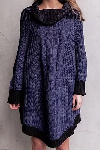 Fold Over Collar  Loose Fitting  Plain Sweaters
