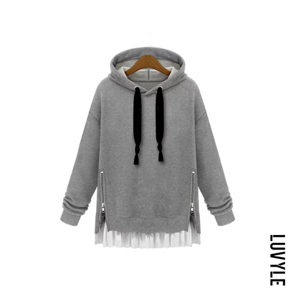 Casual style solid color hat zipper women's sweatershirt