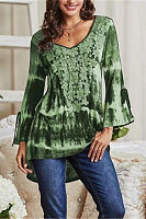 Casual v-neck tie-dyed long-sleeved blouse