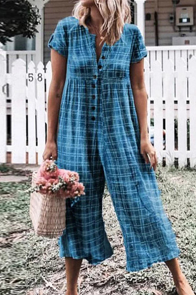 Button Down Collar  Decorative Buttons  Gingham  Short Sleeve Jumpsuits