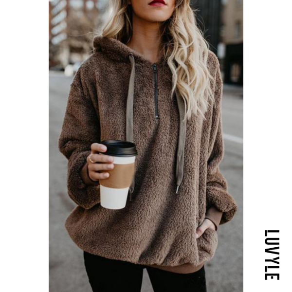 Brown Hooded Polyester Casual Plain Hoodies Brown Hooded Polyester Casual Plain Hoodies
