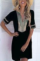 V Neck  Patchwork Printed Casual Dresses