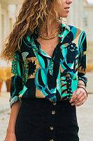 Geometric Print V-Neck Long Sleeve Shirt
