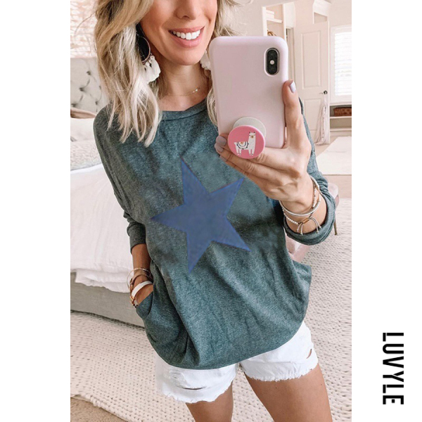 Green Casual Round Neck Multicolor Long Sleeve Star Print T-Shirt Green Casual Round Neck Multicolor Long Sleeve Star Print T-Shirt