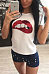 Round Neck  Glitter Lips T-Shirts