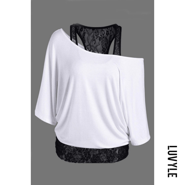 White One Shoulder Lace Batwing Sleeve T-Shirts White One Shoulder Lace Batwing Sleeve T-Shirts
