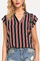 V Neck  Striped  Blouses