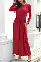 Round Neck Long Sleeve Plain Maxi Dress