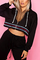 Hooded  Zipper  Striped Hoodies