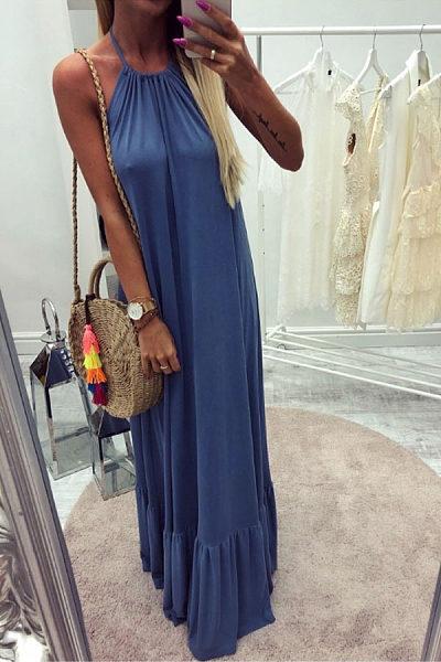 Halter  Backless  Plain  Sleeveless Maxi Dresses