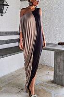One Shoulder  Patchwork  Half Sleeve Maxi Dresses